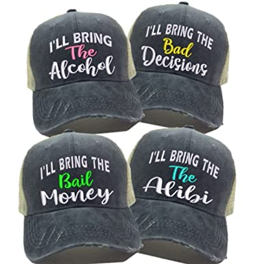 Custom Hats For Men   Women Alcohol Bad Decision Alibi Bail Money Drinking  Ball Cap ( acdf217a826