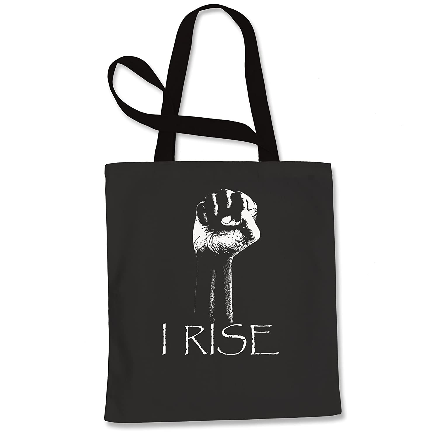 Tote Bag I Rise Quote African-American Pride Fist Navy Blue Shopping Bag