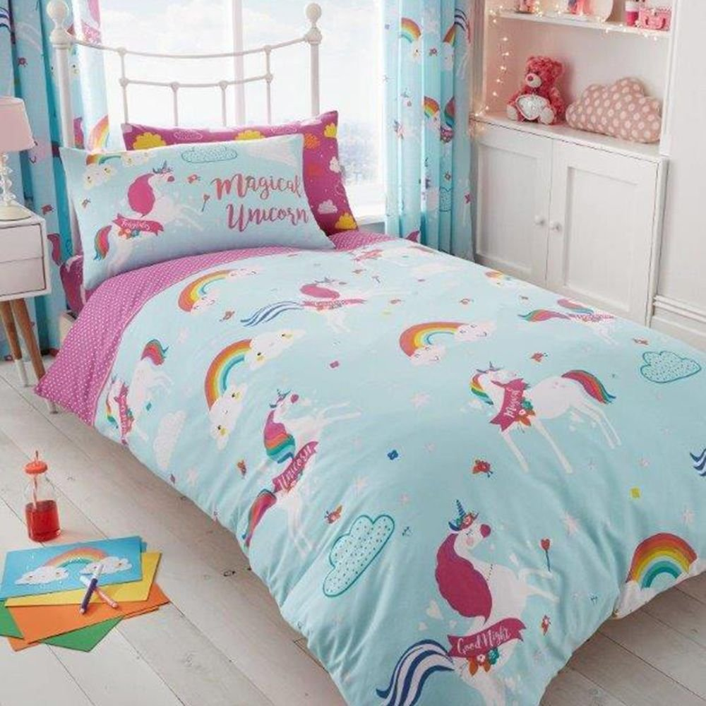 T&A Textiles and Hosiery Ltd Unicorn Fairytale UK Single/US Twin Duvet Cover Pillowcase Set + Matching Fitted Sheet