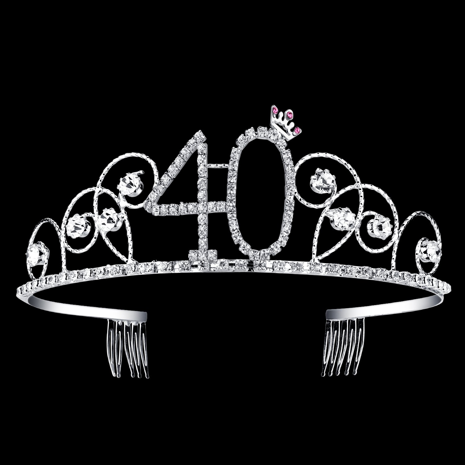 BABEYOND Crystal Tiara Birthday Crown Princess Crown Hair Accessories Silver Diamante Happy 40th Birthday (40 Birth) by BABEYOND