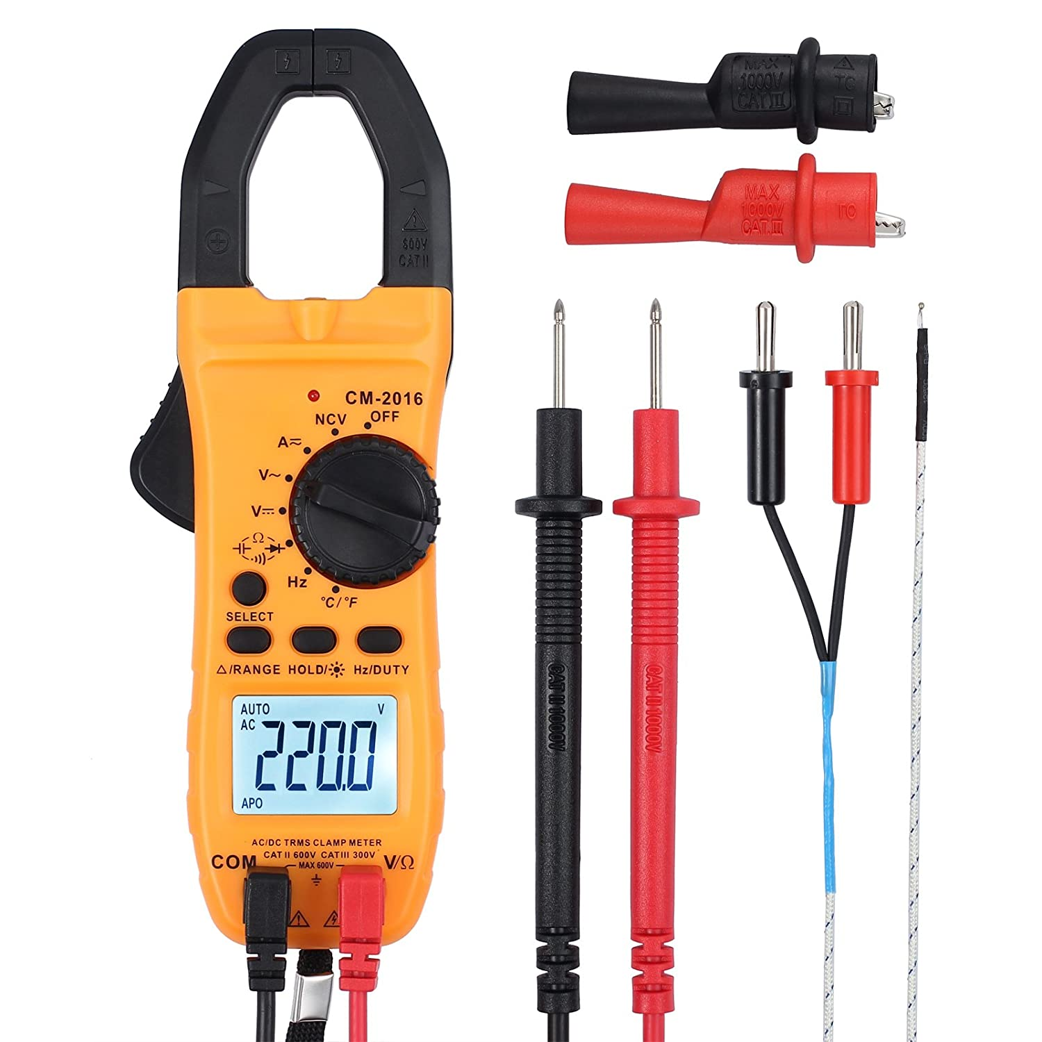 Proster Digital Clamp Meter Auto-Ranging Multimeter Clamp TRMS 6000 Counts with NCV AC/DC Voltage Current Continuity Capacitance Resistance Frequency Diode Temperature Hz Proster Trading Limited