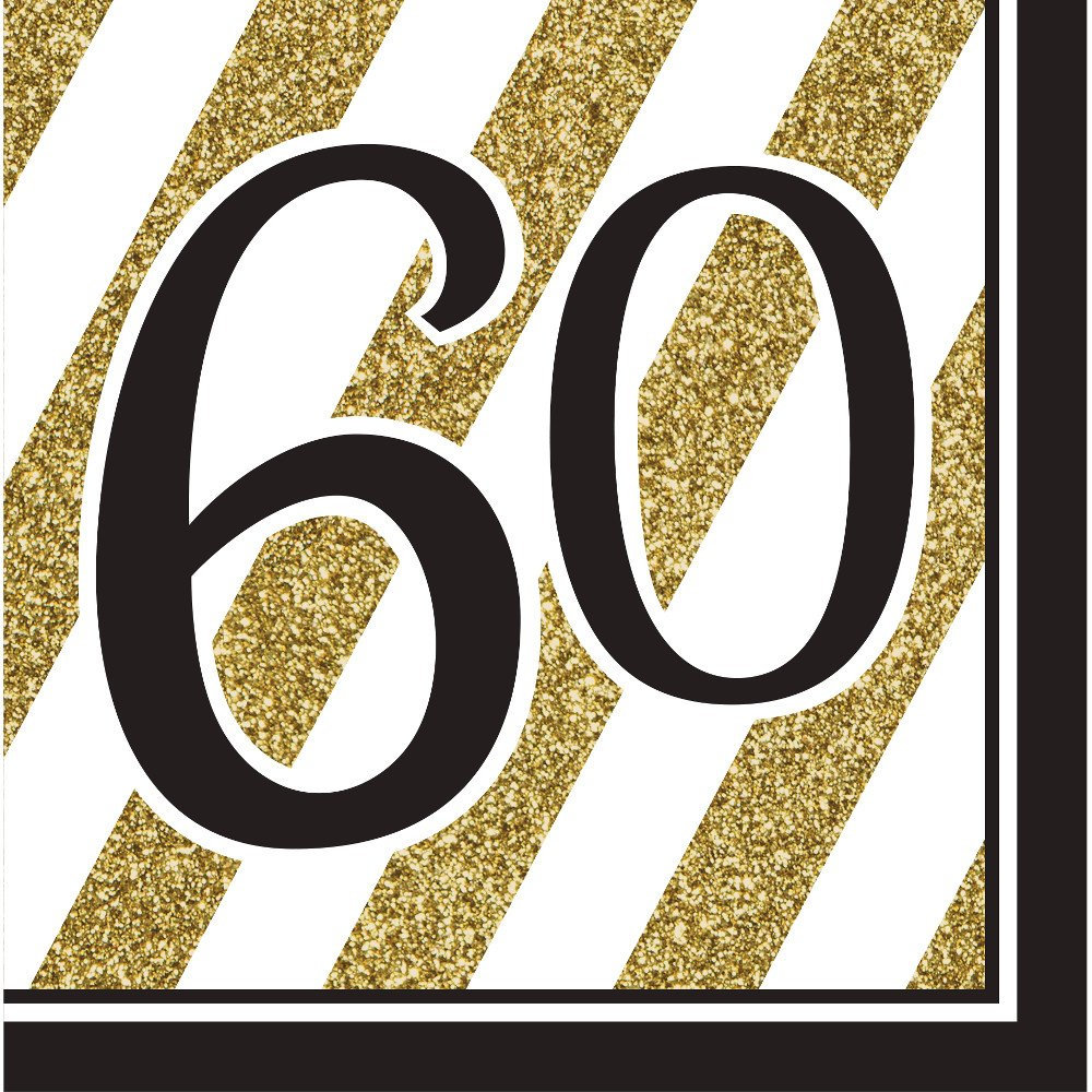 Pack of 192 Gold and White Striped with Black''60'' and Border 2-Ply Party Lunch Napkins