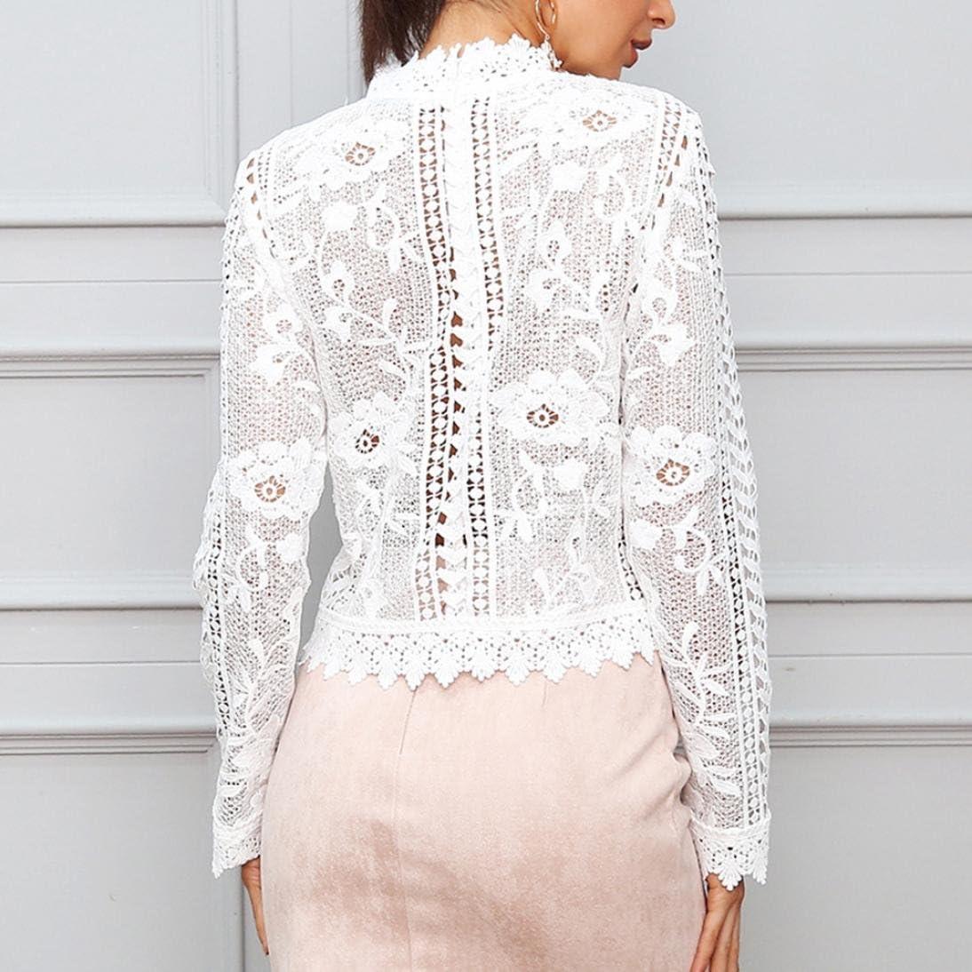 Camisate para mujer floral de encaje sexy de manga larga ...