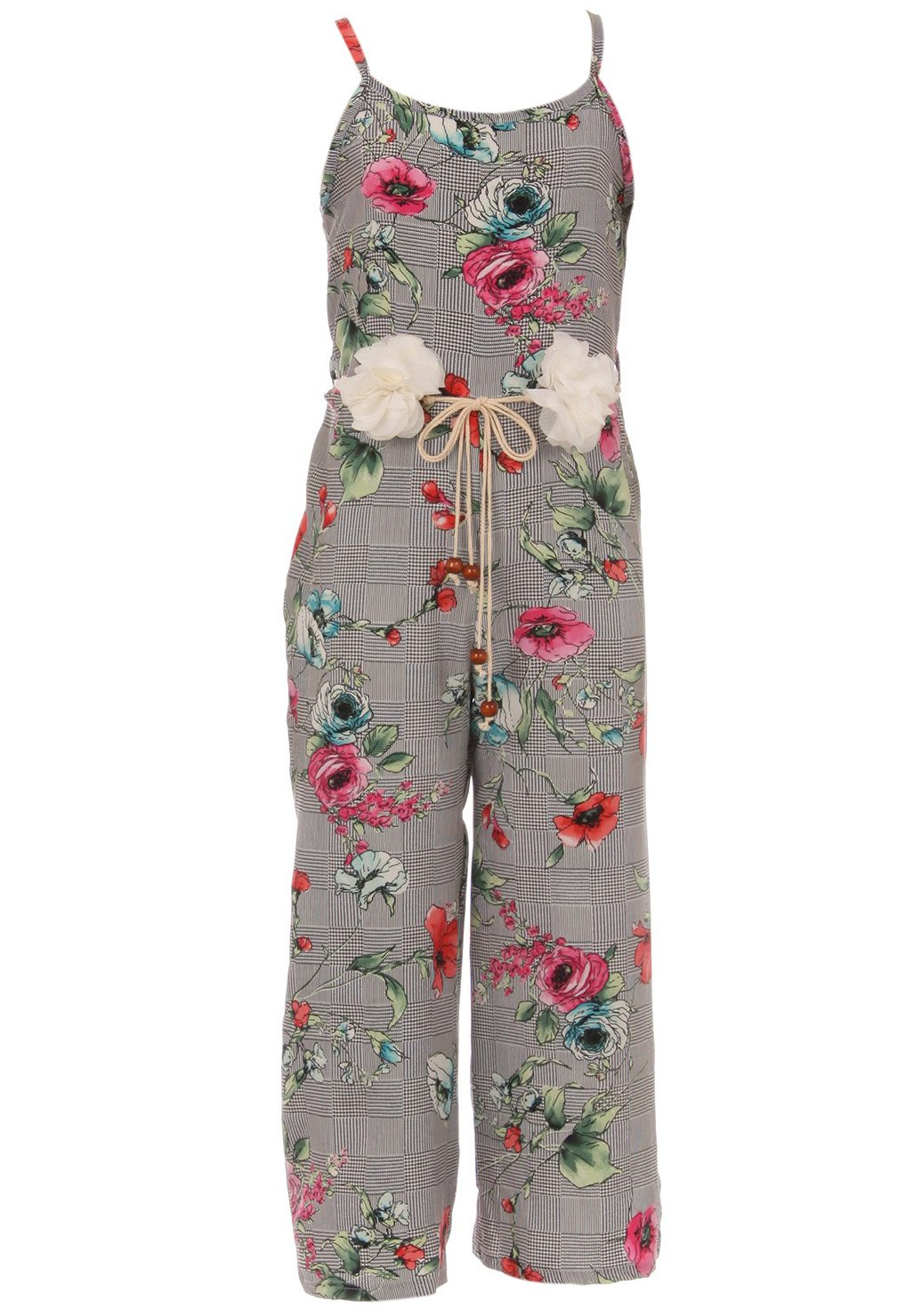 BNY Corner Little Girl Girls Jumpsuits Floral Graduation Casual Summer Birthday Outfit Coral 6 JKS 2127