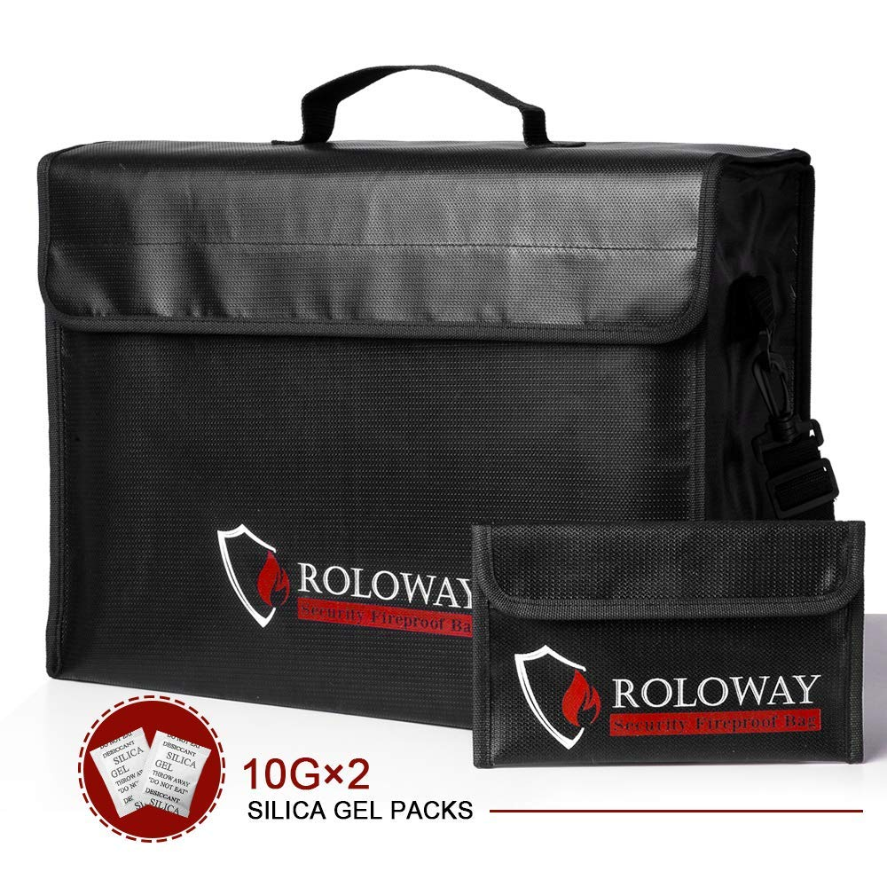 ROLOWAY Large (17 x 12 x 5.8 inches) Fireproof Bag, XL Fireproof Document Bags with Bonus Bag, Fireproof Safe and Water Resistant Bag for Money, Legal Documents, Files, Valuables by ROLOWAY