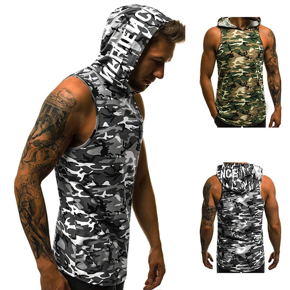 Mens Casual Fashion Hoodie Bodybuilding Muscle Sleeveless Sweatshirt Vest