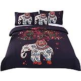 Sleepwish 4 Pcs Boho Mandala Hippie Bedding Elephant Tree Black Printed Bohemian Bedspread Duvet Cover Set Full Size