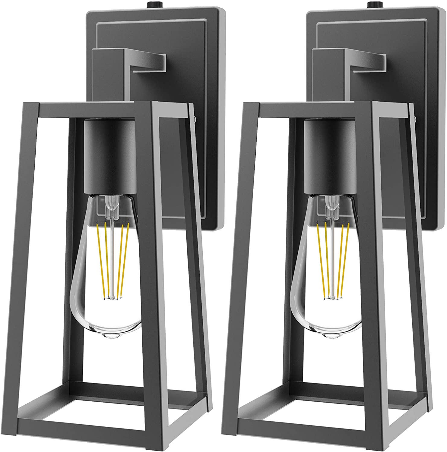 Sunco Lighting Cage Wall Sconce, Matte Black, Clear Glass Shade, Dusk-to-Dawn Photocell Sensor, Outdoor Lantern, Warm White Filament Bulb Included (E26 Base), Waterproof, Porch, Patio, Entryway