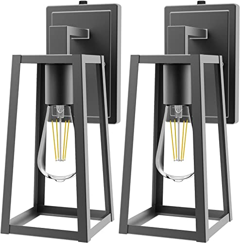 Sunco Lighting Cage Wall Sconce, Matte Black, Clear Glass Shade, Dusk-to-Dawn Photocell Sensor, Outdoor Lantern, Warm White Filament Bulb Included E26 Base , Waterproof, Porch, Patio, Entryway