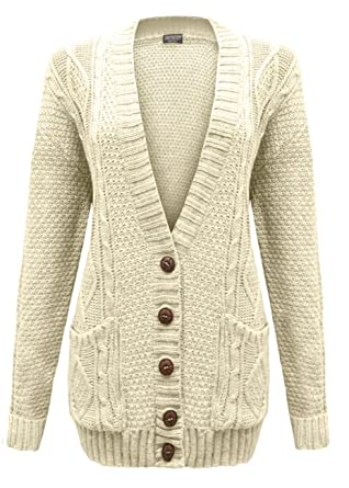 480d211810a58 Cexi Couture - Gilet Femme Tricot Maille Bouton Style Grand-Père Cardigan  Neuf - 36