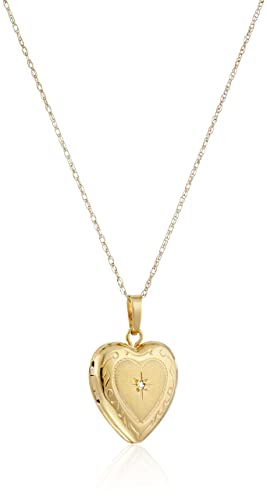 14k Yellow Gold Heart Locket with Diamond-Accent Pendant Necklace