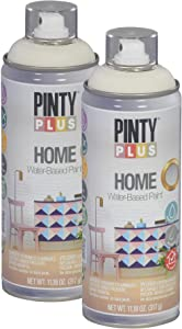 Pintyplus Home Spray Paint - White Linen - 11.2 oz Aerosol - 2 Pack, Low Odor, Low VOC, Matt Finish, Water Based, Environmentally Friendly, Ideal for Indoor Household Projects, Pack of 2