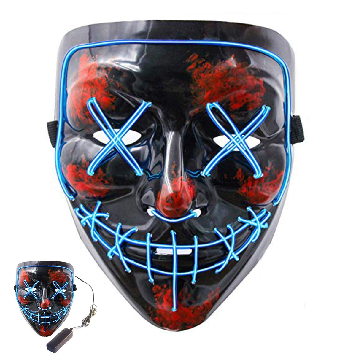 Halloween Scary Mask Led Cosplay Costume Mask EL Wire Light up Mask for Halloween Festival Parties Halloween Scary Mask Cosplay Master-Ed