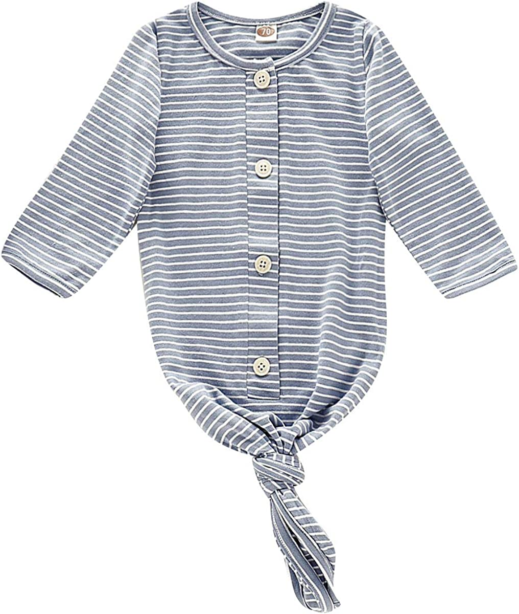 Newborn Baby Boys Girls Knotted Gown Solid Color Nightgown Long Sleeve Stripe Baby Sleeping Bags Infant Coming Home Outfit
