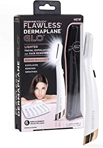 Lighted Facial Exfoliator & Hair Remover with 6 Replacement Heads and batteries
