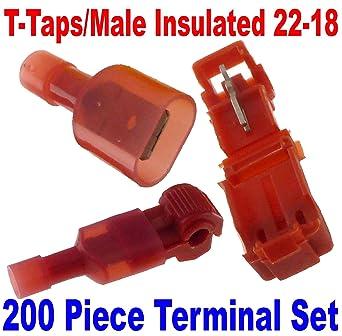200 pcs Car Home Audio Red Male /& Female Quick Disconnector Sets 22-18 Gauge