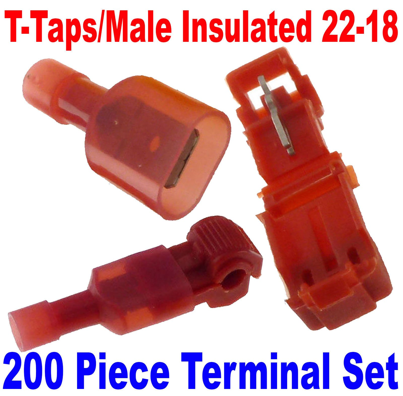 (200) T-Taps/Male Insulated 22-18 Ga Wire Connectors Car Audio Terminals USA