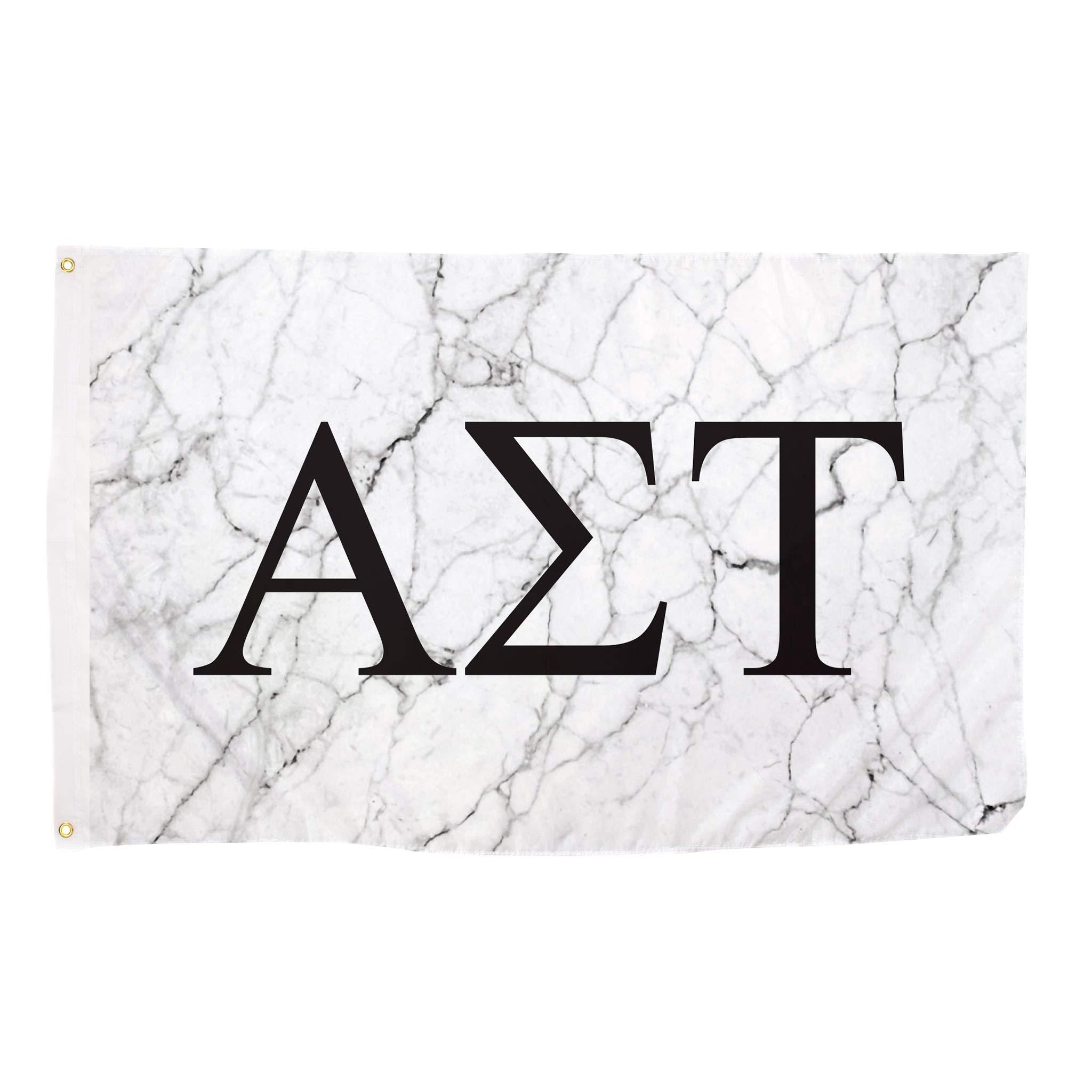 Alpha Sigma Tau Light Marble Sorority Letter Flag Banner 3 x 5 Sign Decor AST