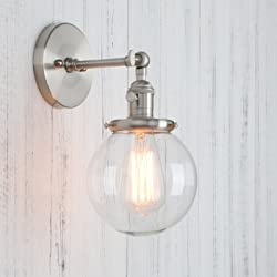 """Permo Vintage Industrial Wall Sconce Lighting Fixture with Mini 5.9"""" Round Clear Glass Globe Hand Blown Shade (Brushed)"""