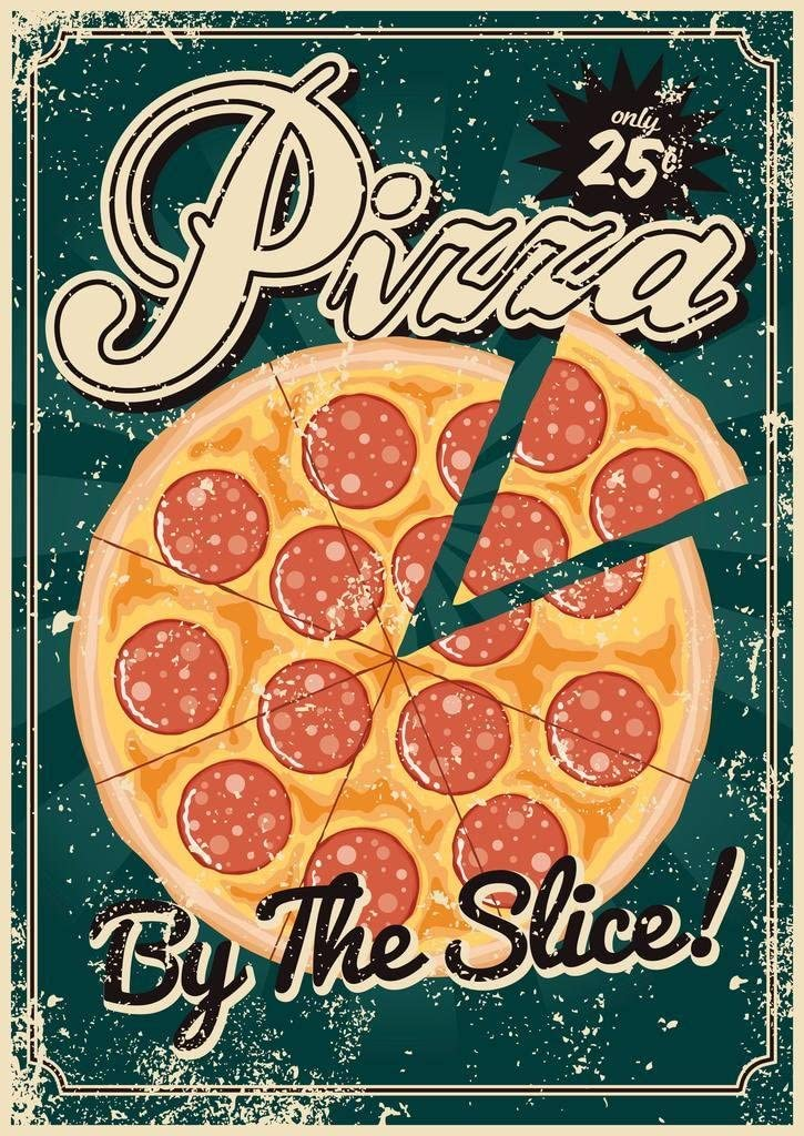 Pizza by The Slice Vintage Cool Wall Decor Art Print Poster 24x36