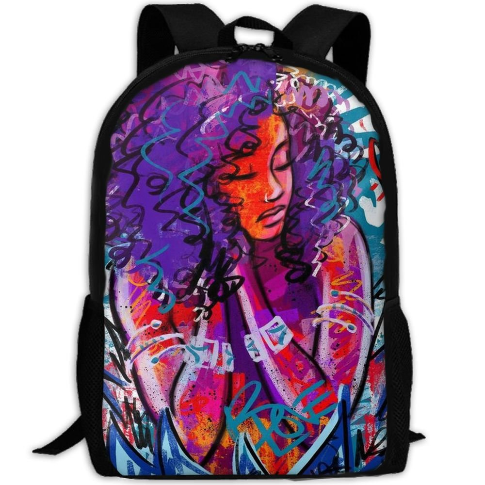 Yes Future Is Female Travel Backpack African American Black Woman Abstract Graffiti Print Backpack For Teenage Lightweight Travel Daypack by Yes Future Is Female