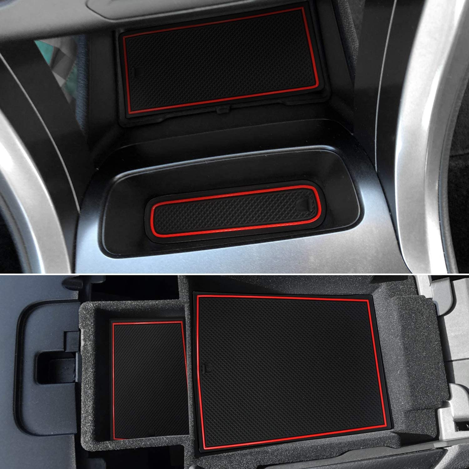 Red, Upgrade Pack of 16 Auovo Anti Dust Door Mats Custom Fit Door Cup Center Console Liners Accessories for Ford Fusion 2019 2020 2018 2017