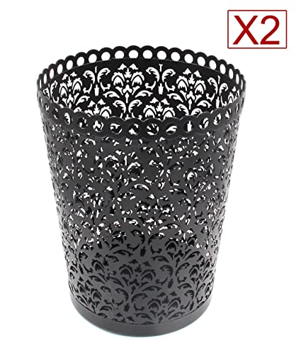 EasyPAG 2 PC Office Trash Can Hollow Flower Pattern Wastebasket 7.25 X 9 X  11.75 Inch