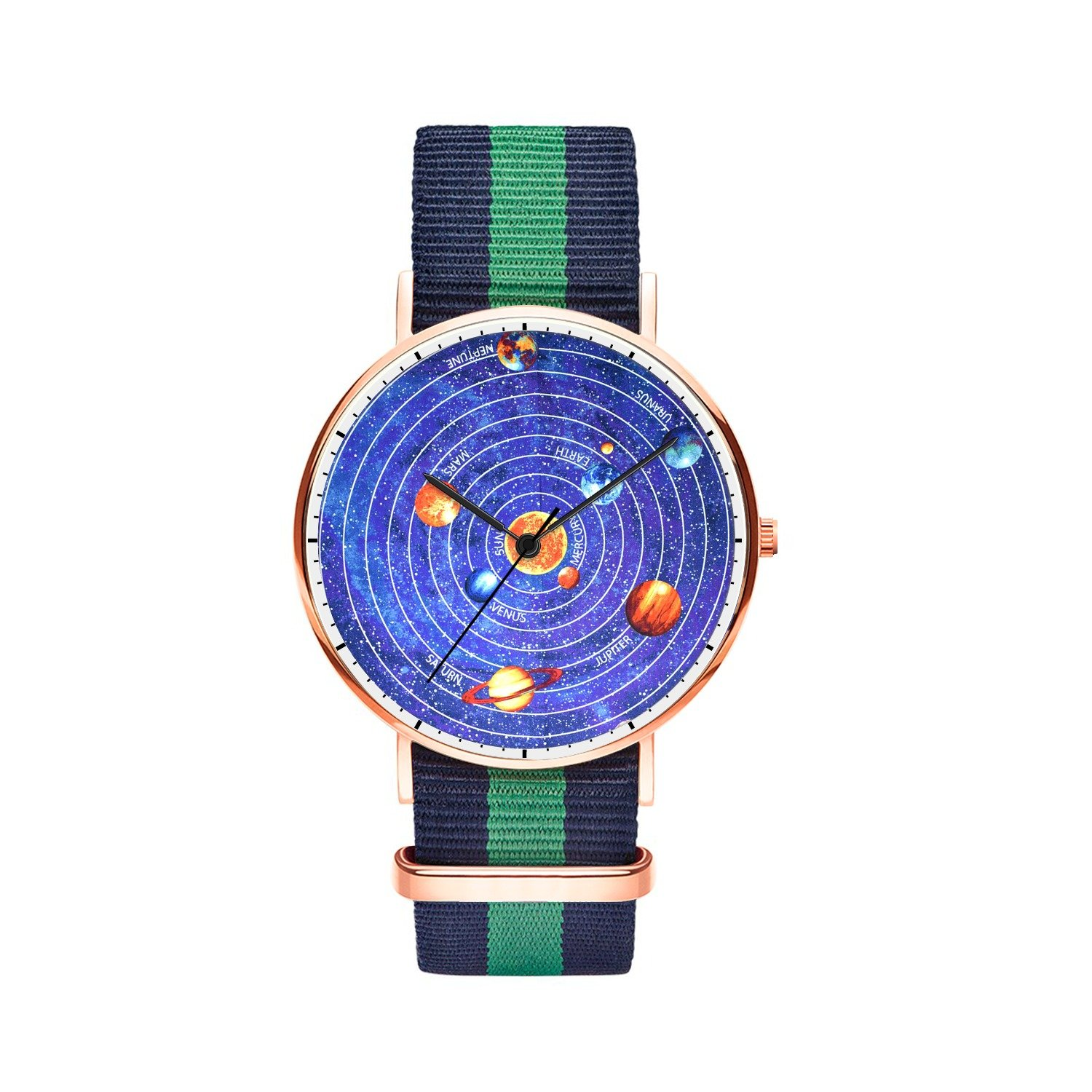 Mens watches, Boys Unique Rose Gold Wrist Watch Thin Japanese Quartz Watches With Nylon Strap Analog Waterproof and Minimalism Design for Youths, Fit all Wrist Size.- Solar System