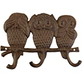Three Wise Owls Cast Iron Triple Wall Hook