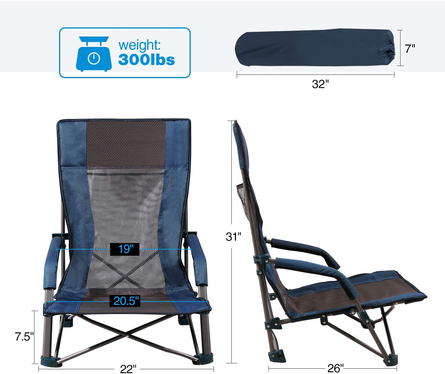 Portable Folding Camping Chairs for Adults Outdoor Backpacking Lawn CAMPMAX High Back Low Sling Beach Chair