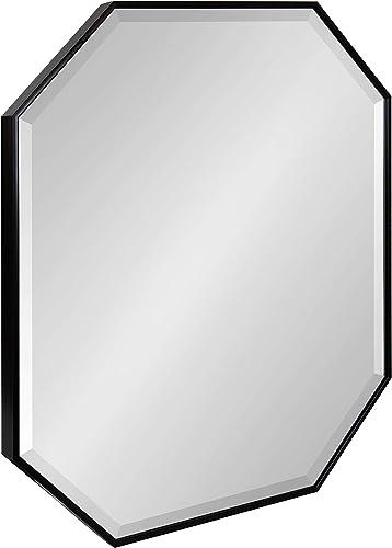 Kate and Laurel Rhodes Glam Octagon Framed Wall Mirror, 26 x 30, Black, Chic Geometric Wall Decor