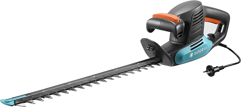 Tijeras cortasetos eléctricas EasyCut 420/45 de GARDENA: tijeras eléctricas para setos, 420W, cuchilla de 45cm de longitud, separación entre dientes de 18mm, protector contra impactos (9830-20)