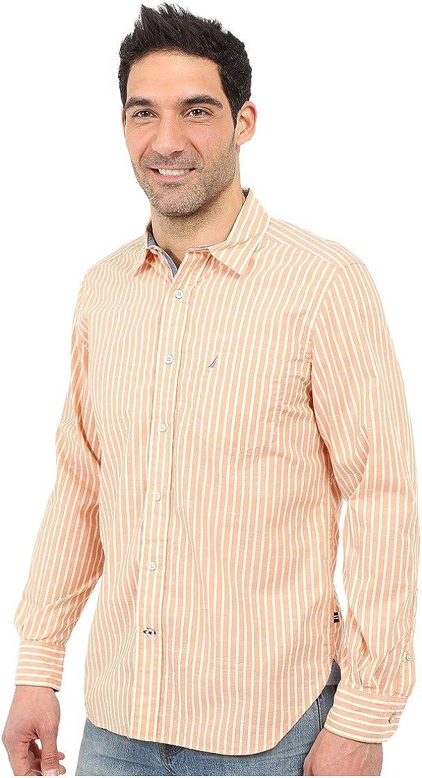 Nautica Island - Camisa de popelín a Rayas para Hombre - Naranja - XX-Large: Amazon.es: Ropa y accesorios
