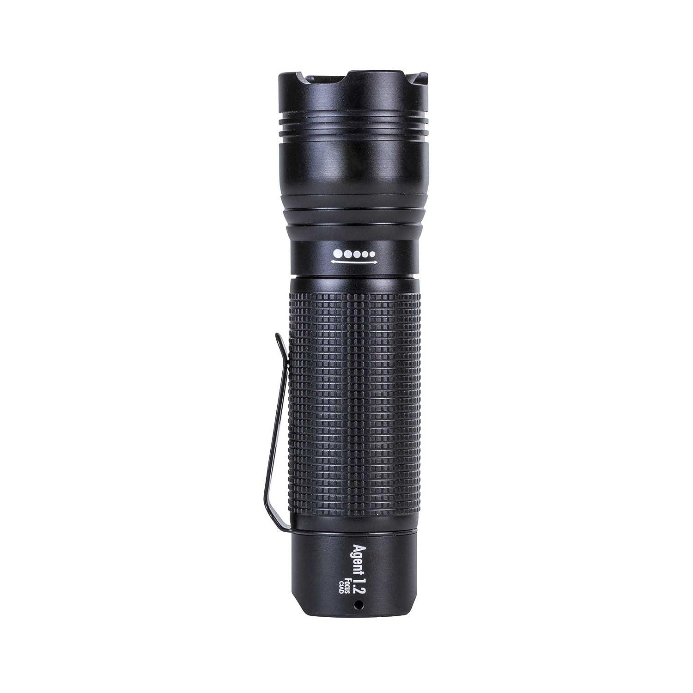 ANSMANN LED Taschenlampe Agent 1.2F inkl. AAA Batterie - 230 Lumen & 12250 Lux - Helle & robuste Handlampe mit stufenloser Fokussierung & Clip - ideal für Camping Outdoor Licht Jagd Security IP54 1600-0087