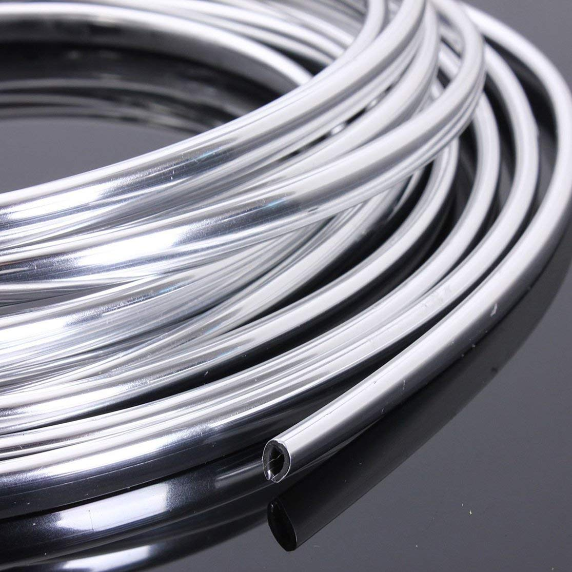 New 6M Chrome Moulding Trim Strip Car Door Edge Scratch Guard Protector Cover Strip Roll