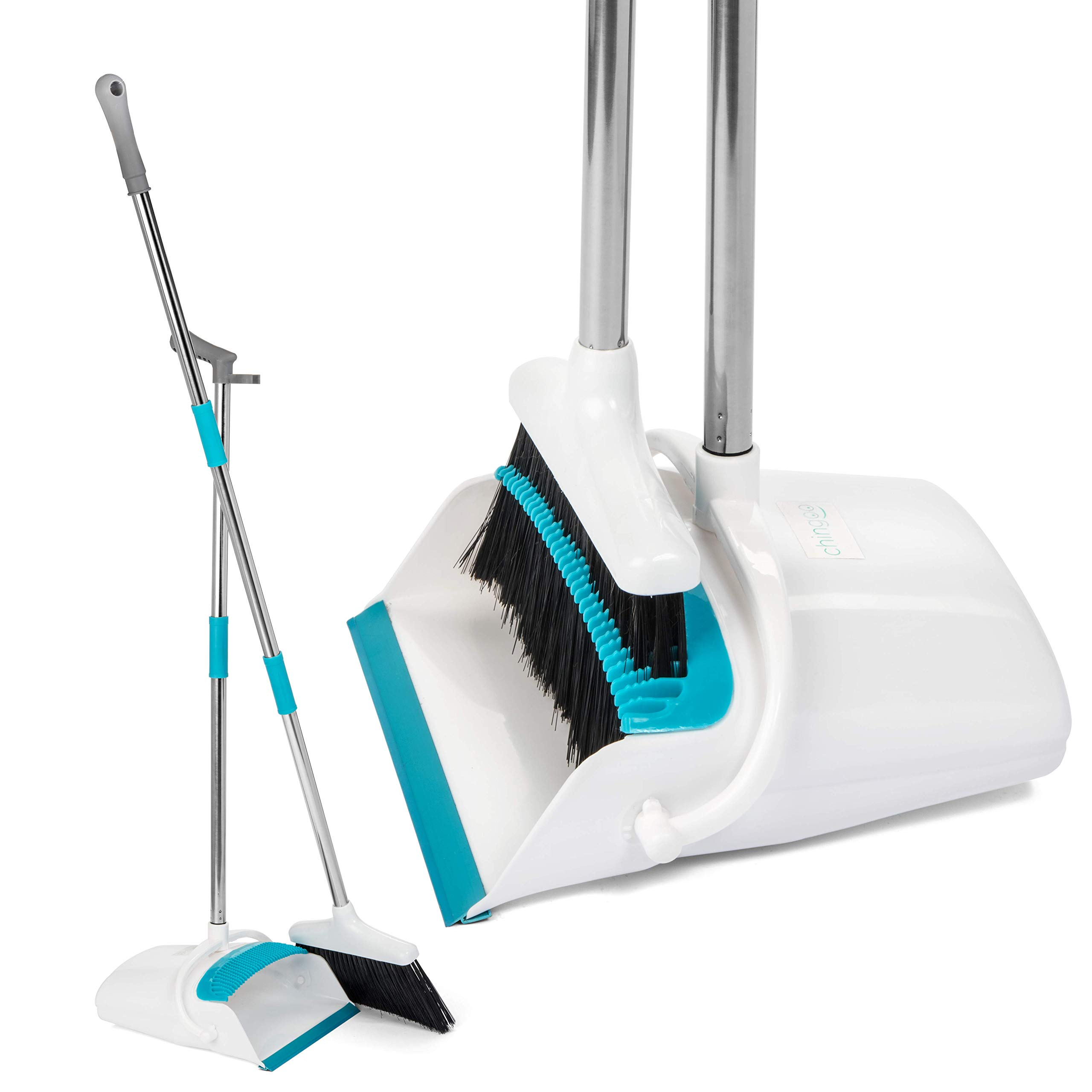 Broom and Dustpan Set by Chingoo - Custom Color Dust Pan with Long Handle, Bristle Combing Teeth and Angled Rubber Edge for Efficient Cleaning - Stop Back Pain with Optional Broom Handle Extension