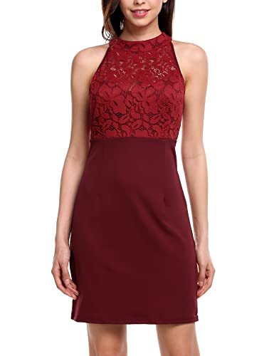 Meaneor Women's Halter Neck Floral Lace Crochet Bodycon Pencil Dress