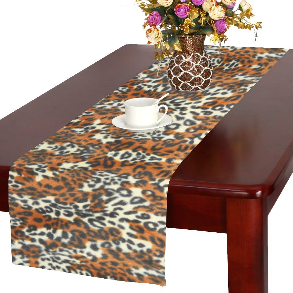 InterestPrint Animal Tiger Print Long Table Runner 16 X 72 Inches, Tiger Skin Rectangle Table Runner Cotton Linen Cloth Placemat for Office Kitchen Dining Wedding Party Home Decor