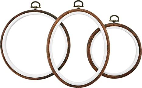 3pcs Sewing Cross Stitch Hoop Art Craft Embroidery Hoops Wood Circle Frame