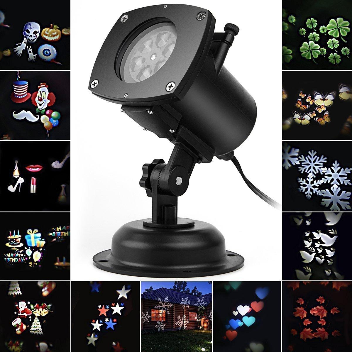 Weihnachten LED Effektlicht, LED Projektor Lichter mit 12 Motiven, dynamisch/statisch, 3 Stufen Geschwindigkeiten, innen/außen IP65 innen/außen IP65 Salcar