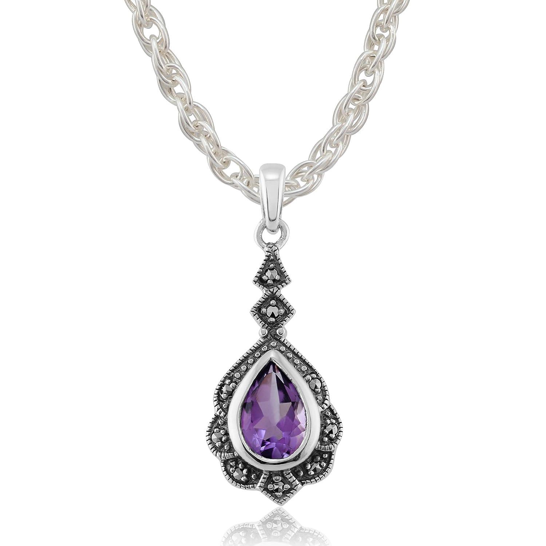 Gemondo Sterling Silver 0.80ct Amethyst /& 7.2pt Marcasite Art Nouveau Pendant on 45cm Chain