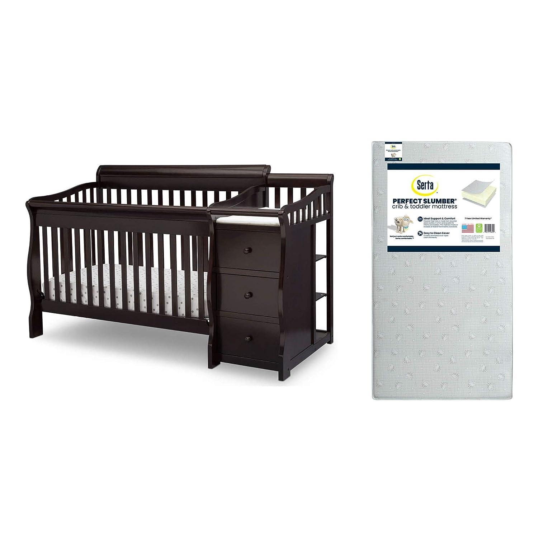 Delta Children Princeton Junction Convertible Crib N Changer Dark Chocolate Serta Perfect Slumber Dual Sided Recycled Fiber Core Crib and Toddler Mattress Bundle