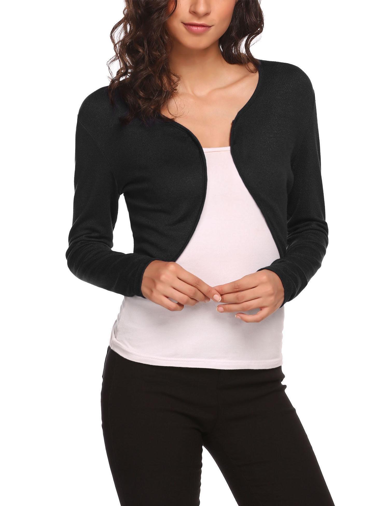 HOTOUCH Women's Solid Soft Stretch Long Sleeve Layer Bolero Cardigan Black L