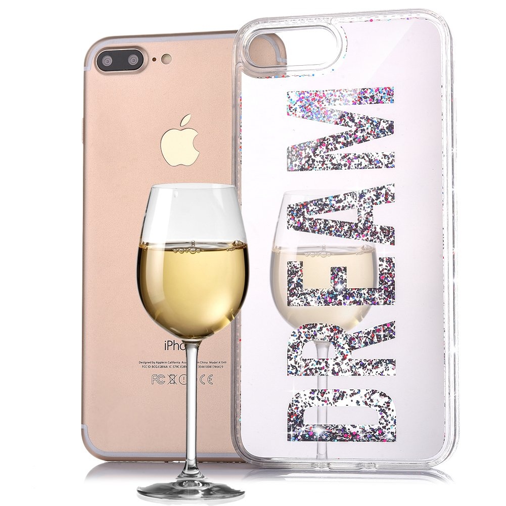 BtDuck Plated Mirror Liquid Case For Apple iPhone 7 Plus / iPhone 8 Plus 5.5 inch Gold Bling Bling Sequins English Word DREAM Suitable For Individuality Girl Lady Reflector Outdoors For Help Self-timer Effect Metal Frame Phone Accessories Protector Cover A