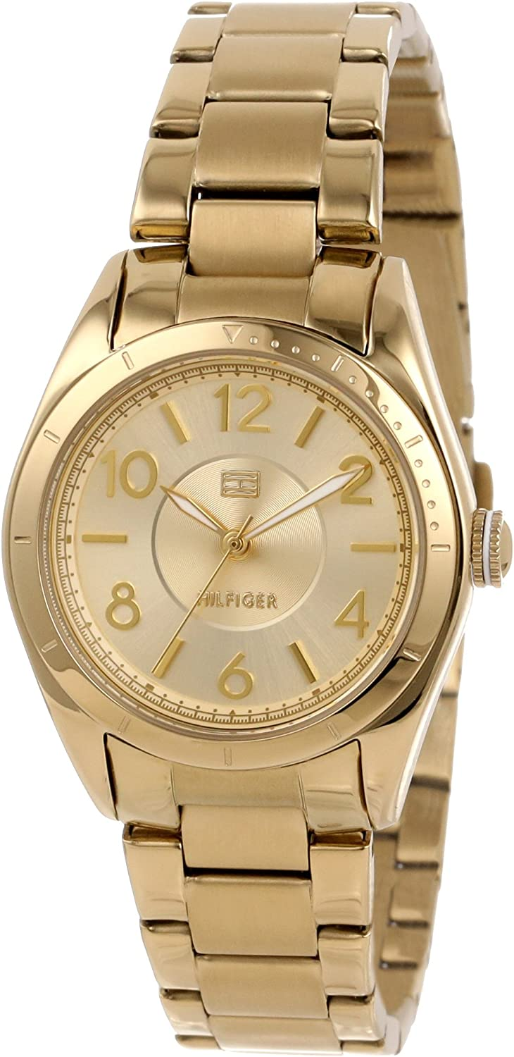 Tommy Hilfiger Women s 1781278 Casual Sport Gold-Plated 3-Hand Watch