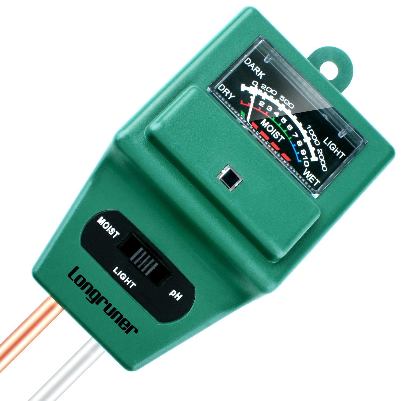 Longruner Soil Moisture PH Meter, 3-in-1 Plant Moisture Sensor Meter/Light/PH Tester for Home, Garden, Lawn, Farm, Indoor/Outdoor(No Battery Needed) LKP03