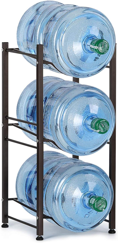 LIANTRAL 5 Gallon Water Jug Holder Water Bottle Storage Rack, 3 Tiers, Dark Brown