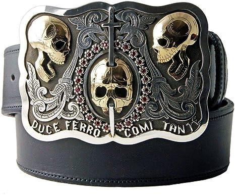 Leather Belt with Brass Skull Belt BuckleMolfar