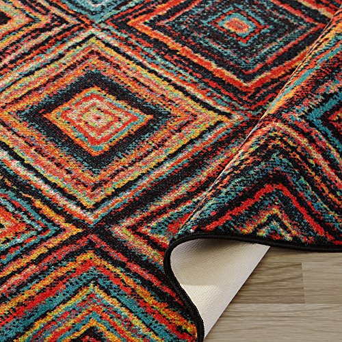 Ottomanson Authentic Collection Abstract Diamonds Design Area Rug, 2'2'' X 6'0'', Multi Color by Ottomanson (Image #1)