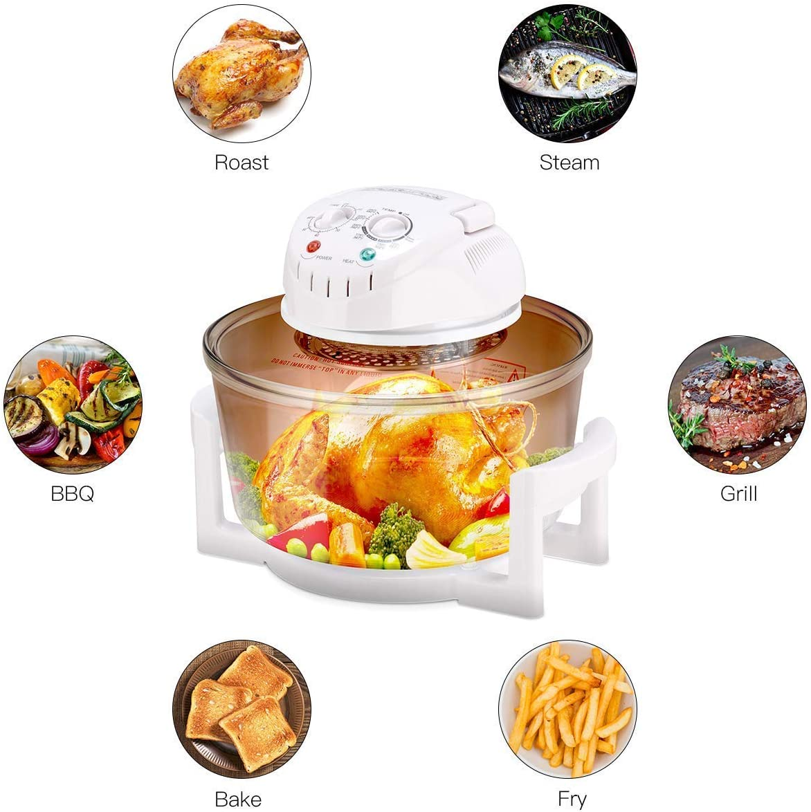 Enhanced Halogen Oven, 1400W 12L Air Fryer with Self-Cleaning Function, Adjustable Temperature and Timer, Including Extension Ring for 17L Rack Tray, High Rack, Low Rack und Tong